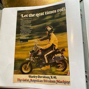 Vintage 70s Sport Magazine Harley Ad Poster